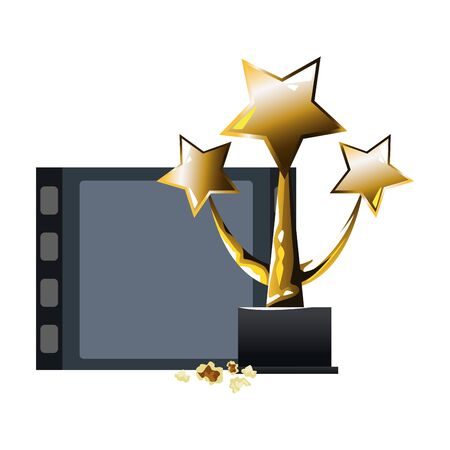 piece of film reel and stars award icon over white background, colorful design, vector illustration