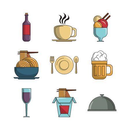 Ensemble d'aliments nutritifs icône vector illustration design Vecteurs