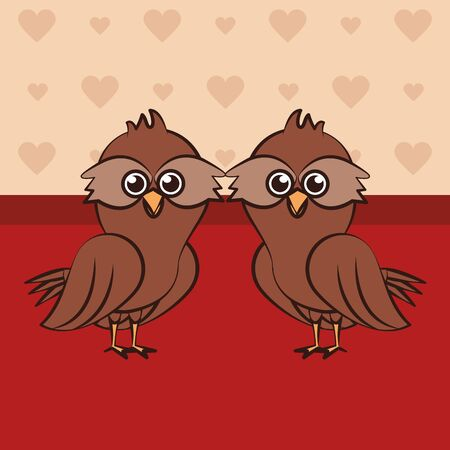 happy valentines day card with cute owls couple vector illustration design