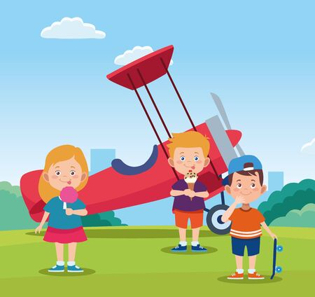 happy children day design with cartoon happy kids and light aircraft over field background, vector illustration