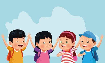 cartoon happy kids with school backpacks over blue background, colorful design , vector illustration