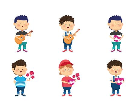 icon set of cartoon happy boys with love gifts over white background, vector illustration