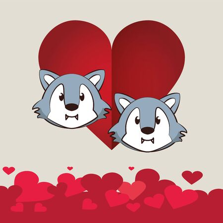 happy valentines day card with cute wolfs couple vector illustration design