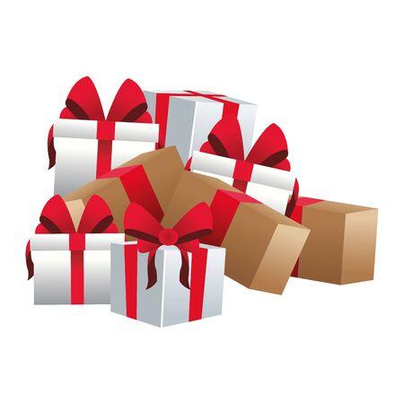 stack of gift boxes over white background, flat design, vector illustration