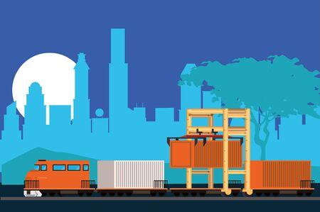 train delivery service on the city scene vector illustration design Foto de archivo - 139861402