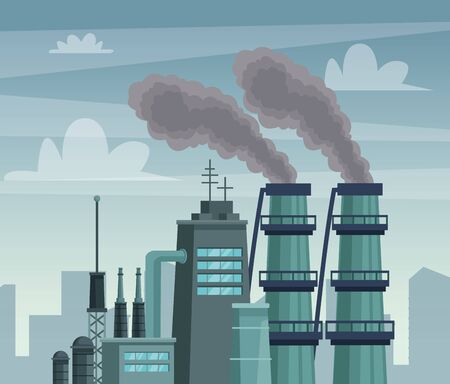 chimeny factory polluting the air scene vector illustration design Ilustracja