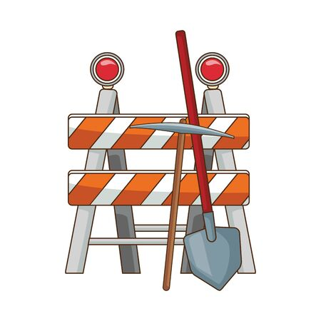 safety barrier with pickaxe and shovel icon over white background, vector illustration