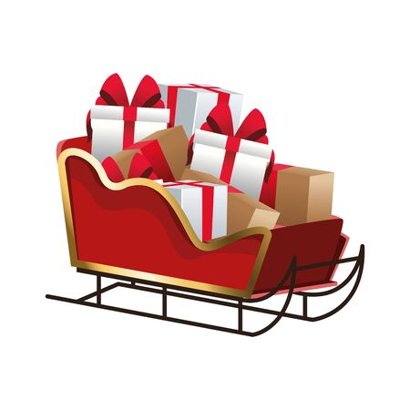sled with gift boxes over white background, colorful design, vector illustration