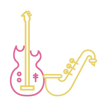 saxophone and electric guitar musical instruments vector illustration design Ilustração