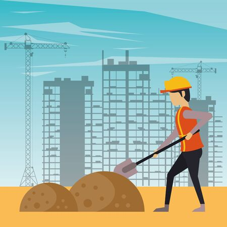 man builder working under construction scene vector illustration design Ilustrace