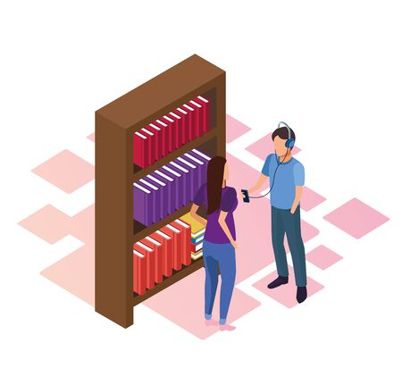 bookshelf and woman and man standing over white background, isometric and colorful design, vector illustration Ilustracja