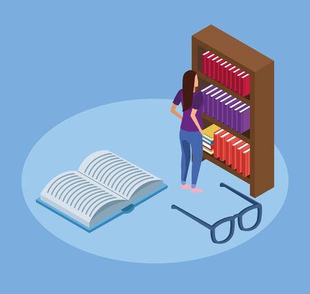 bookshelf, glasses and woman standing over blue background, isometric and colorful design, vector illustration