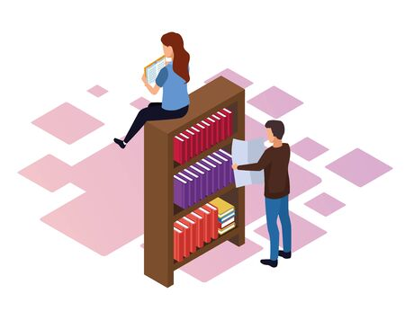 bookshelf with woman and man around over white background, colorful isometric design, vector illustration