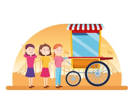 cartoon happy girls at the popcorn cart over white background, colorful design, vector illustration