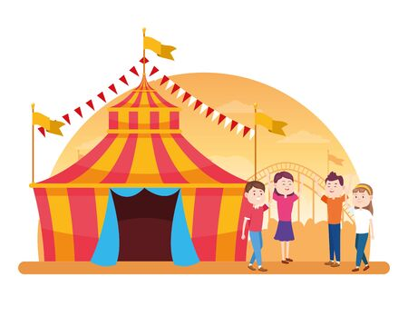 carnival fair tent and cartoon people around over white background, colorful design, vector illustration Illustration