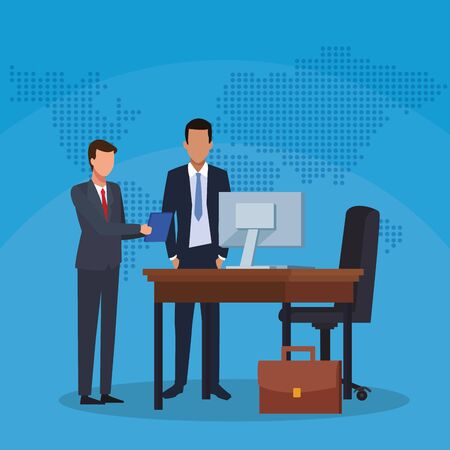 businessmen with folder desk computer chair suitcase work office success business vector illustration Иллюстрация