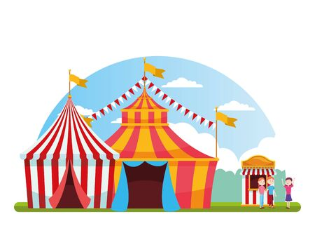 carnival fair tents and happy people in the ticket booth over white background, colorful design, vector illustration Illustration