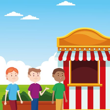 cartoon boys at the fair ticket booth over landscape background, colorful design, vector illustration