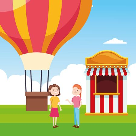 hot air balloon and two women standing next to ticket booth over landscape background, colorful design, vector illustration Illustration