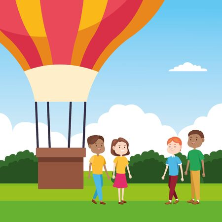 hot air balloon and people standing over landscape background, colorful design, vector illustration Illustration