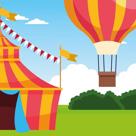 carnival fair tent and hot air balloon over landscape background, colorful design, vector illustration