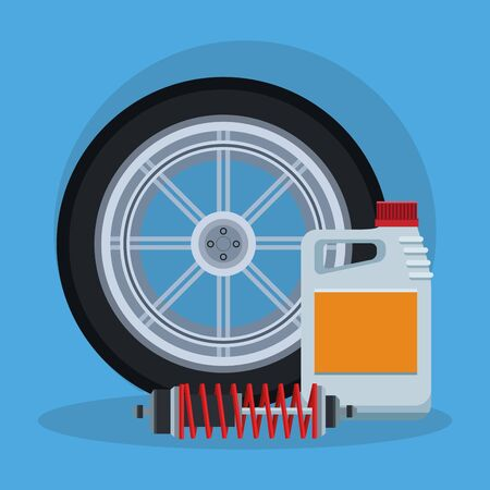 car tire with oil bottle and shock absorber over blue background, colorful design, vector illustration 矢量图像