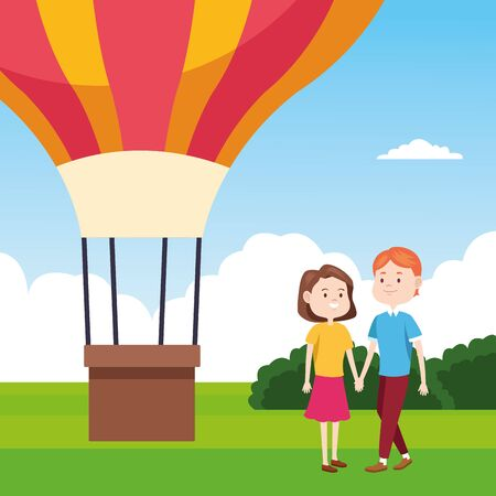 hot air balloon and happy couple over landscape background, colorful design, vector illustration