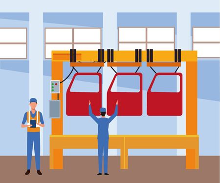 car repair shop scenery with machine with car doors and mechanics working , colorful design, vector illustration Illustration