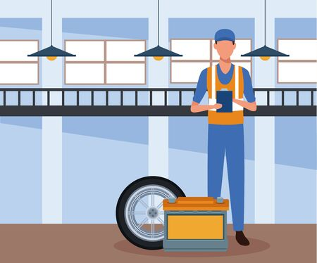 car repair shop scenery with mechanic standing with battery and car tire, colorful design, vector illustration