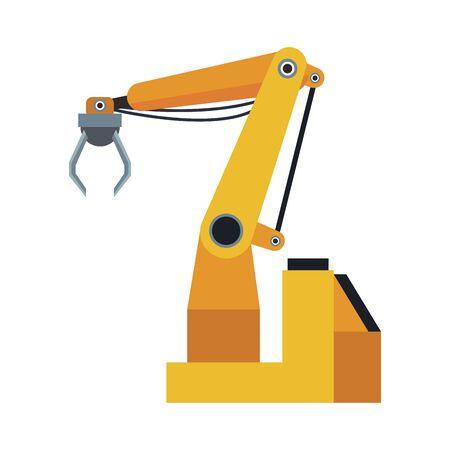 robotic arm machine icon over white background, colorful design, vector illustration