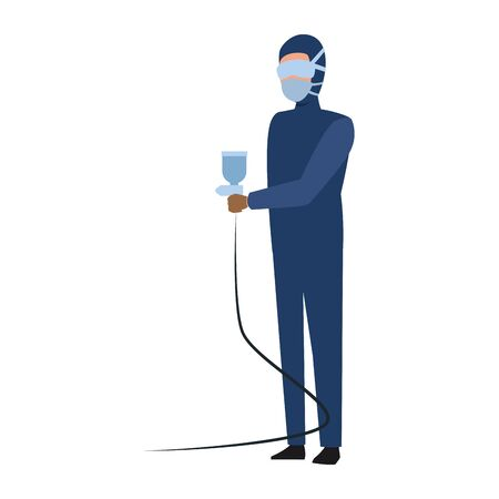 man holding a paint spray and wearing costume and mask for painting over white background, vector illustration