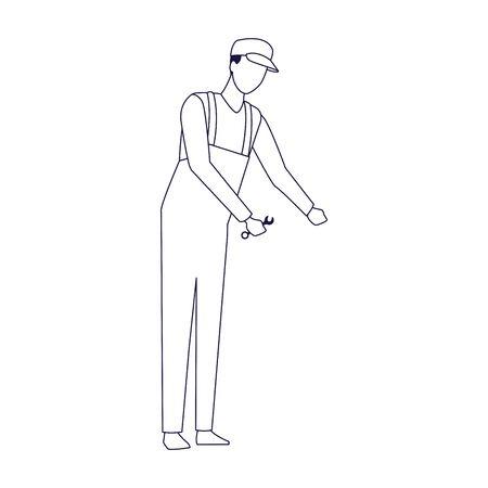 avatar car mechanic standing over white background, flat design, vector illustration