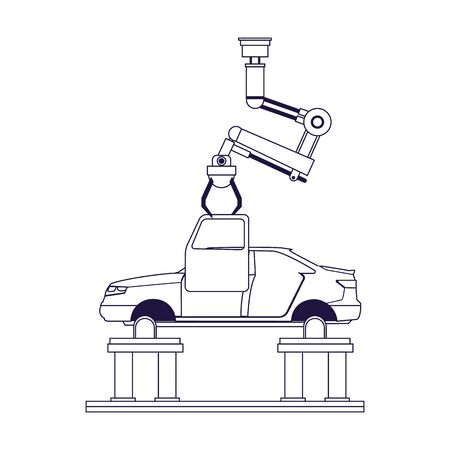 lifted car and industrial arm holding a door over white background, flat design, vector illustration