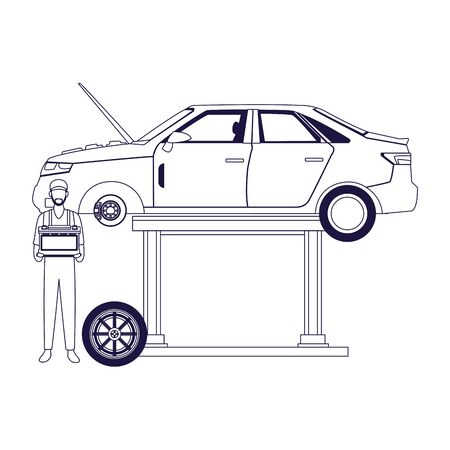 lifted car and mechanic standing holding a battery over white background, flat design, vector illustration Stock Illustratie