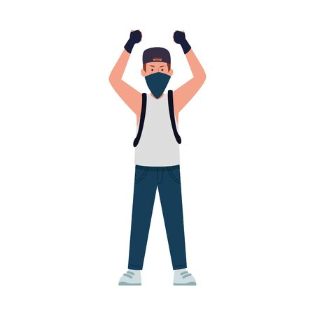 Cartoon vandal man standing using gloves and kerchief over white background, vector illustration
