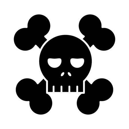 skull with bones crossed flat style icon 向量圖像