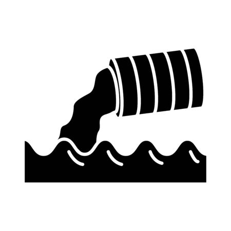 metal marrel polluting the water flat style icon vector illustration design