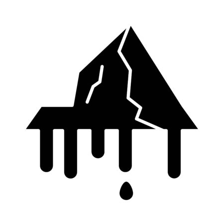 iceberg floating in the water flat style icon illustration design  イラスト・ベクター素材