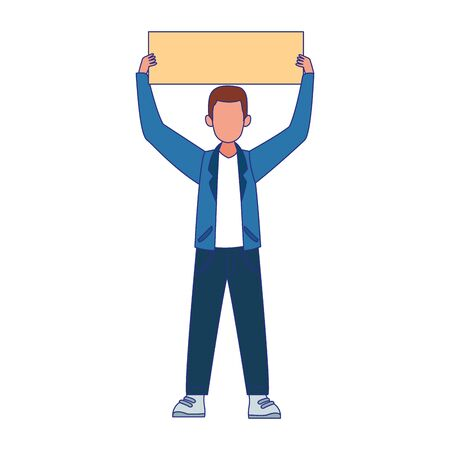 cartoon young man holding up a blank sign over white background, colorful design, vector illustration Vecteurs