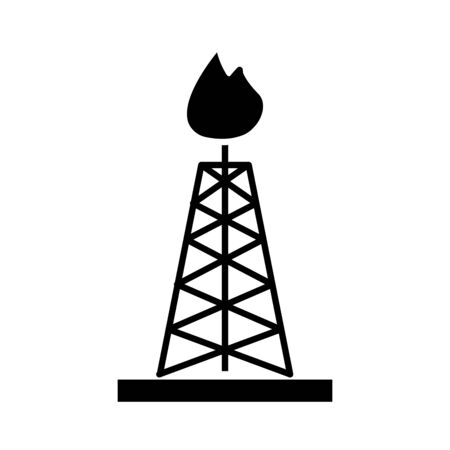 tower refinery plant isolated flat style icon vector illustration design Ilustracja