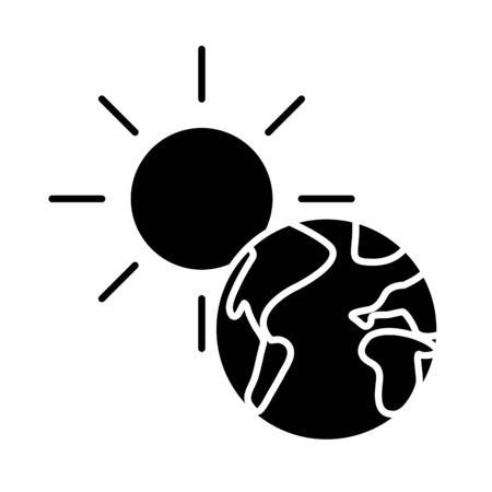 world planet earth with sun flat style icon vector illustration design