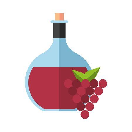 wine jar drink with grapes fruits vector illustration design