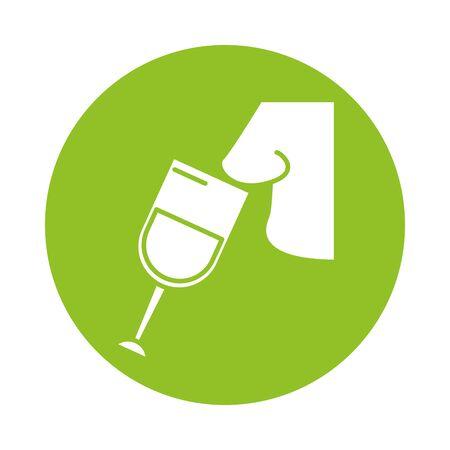 wine cup drink with nose smelling vector illustration design Иллюстрация