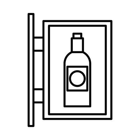 wine bottle drink label hanging vector illustration design  イラスト・ベクター素材