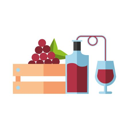 wine bottle drink with cup and grapes vector illustration design