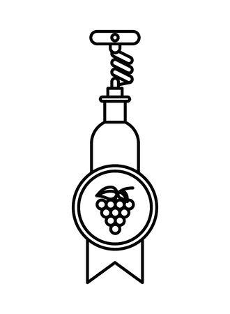 wine bottle drink with corkscrew vector illustration design