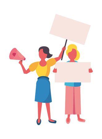 Mujeres activistas con pancartas de protesta, diseño de ilustraciones vectoriales