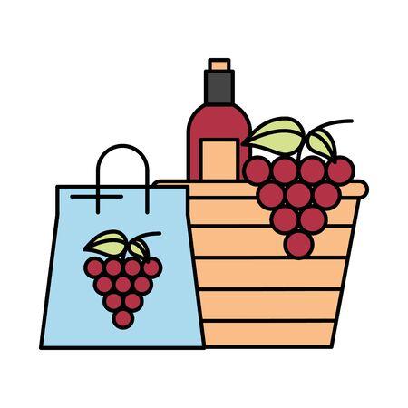 grapes fresh fruits in paper shopping bag vector illustration design