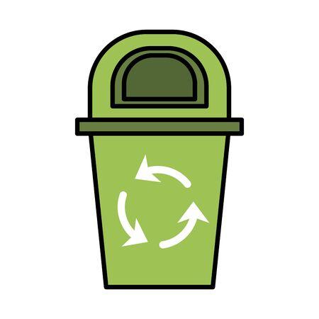 waste bin with recycle arrows vector illustration design 向量圖像