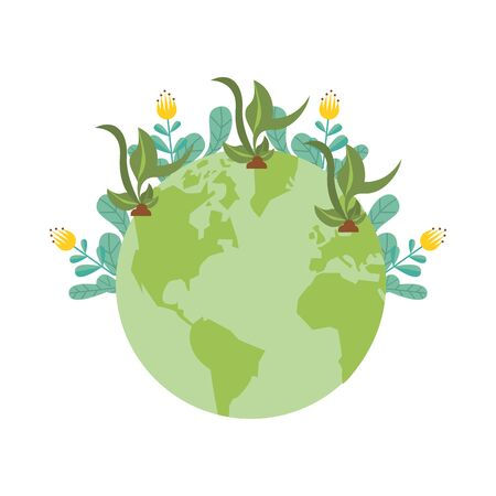 world planet earth with flowers garden vector illustration design